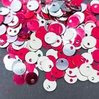 Паєтки круглі зі зміщеним центром 5мм Red-Silver