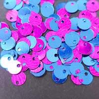 Паєтки круглі зі зміщеним центром 5мм Blue-Fuchsia