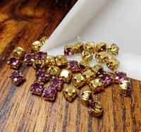 Шатон 4мм колір Purple Grape, скло, колір оправи золото