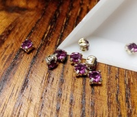 Шатон 4мм колір Purple Grape, скло, колір оправи срібло