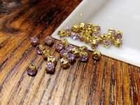Шатон 4мм колір Violet, скло, колір оправи золото